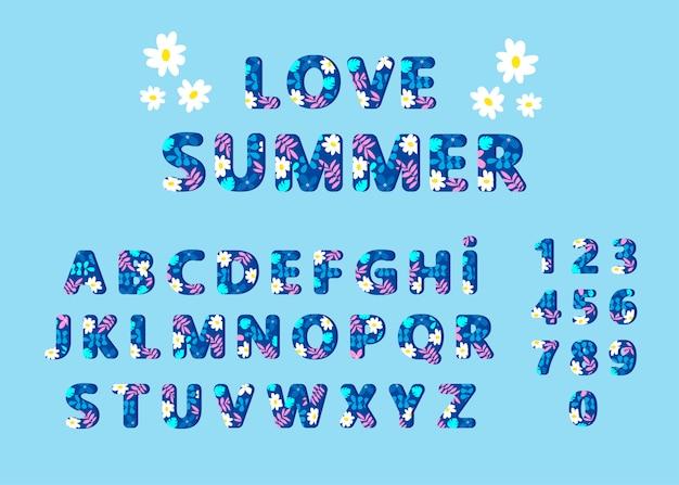 Alfabeto de escrita de verão. letras e números