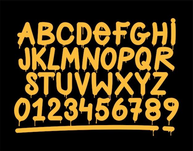 Alfabeto de estilo de marca de vandalismo de graffiti.