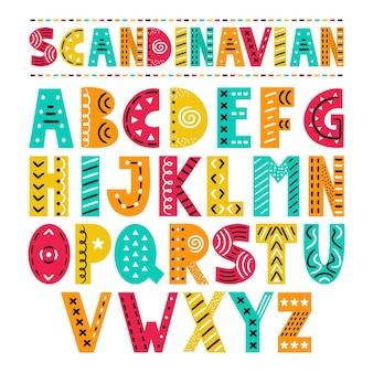 Alfabeto de estilo escandinavo abc. ilustração plana dos desenhos animados