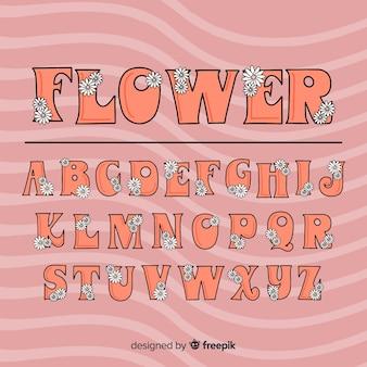 Alfabeto de estilo floral dos anos 60