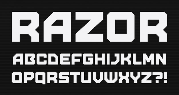 Alfabeto de estilo geométrico moderno. fonte quadrada em negrito, tipo minimalista