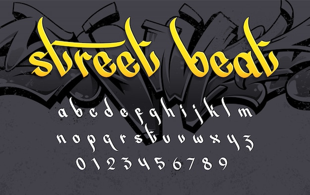 Alfabeto de estilo graffiti em fundo grunge. conjunto de letras de vetor de estilo de arte de rua.
