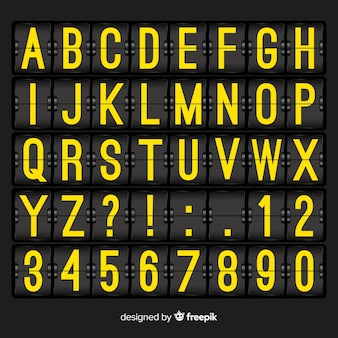 Alfabeto de estilo realista placar