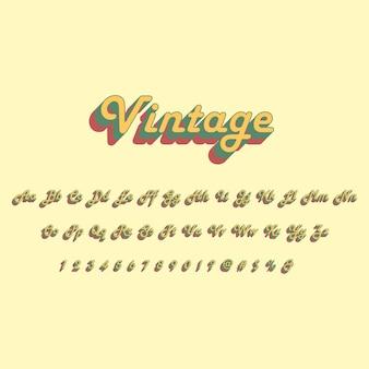 Alfabeto de estilo vintage 3d conjunto de fontes isométricas pop art tipografia ilustração vetorial