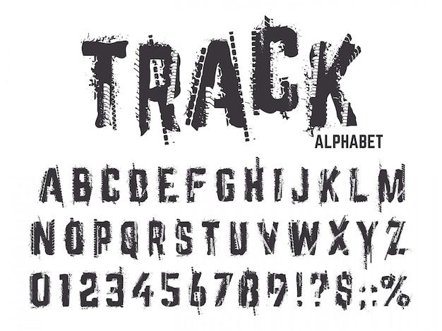 Alfabeto de faixas de pneu. a textura de grunge pisa letras e números, trilhas do pneu da roda de carro da tipografia que rotulam o grupo de símbolos do abc. alfabeto e abc tipo, pneu preto texturizado ilustração