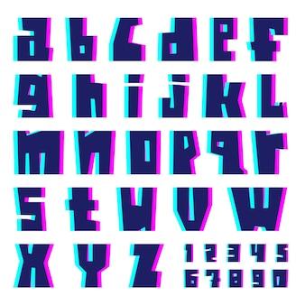 Alfabeto de falha. letras e números com efeito.