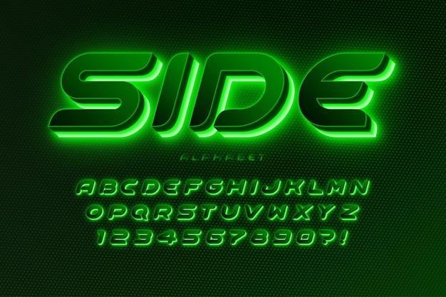 Alfabeto de ficção científica futurista, design de espaço extra brilhante, conjunto de caracteres criativos.