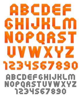 Alfabeto de fitas brilhantes e números. silhuetas planas.
