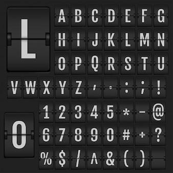 Alfabeto de flip realista e números.