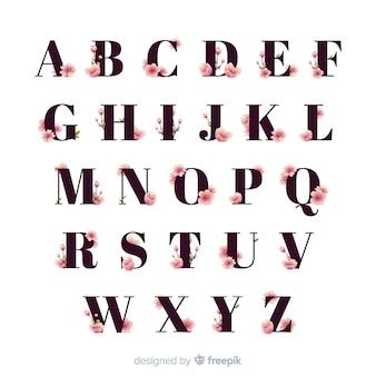 Alfabeto de flores de cerejeira plana