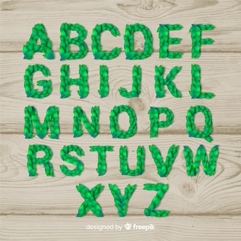Alfabeto de folhas realistas