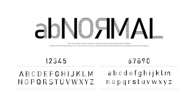 Alfabeto de fonte abstrata moderna hipster e números