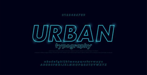 Alfabeto de fonte abstrata urbana moderna néon linha fina