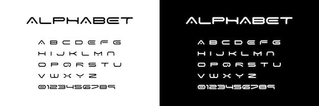 Alfabeto de fonte. alfabeto de fonte de espaço abstrato de letras e números. ilustração vetorial