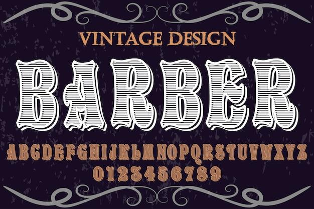 Alfabeto de fonte artesanal vetor chamado barbeiro