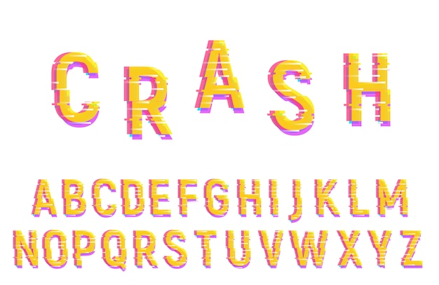 Alfabeto de fonte de falha. tipo de letra distorcida do vetor