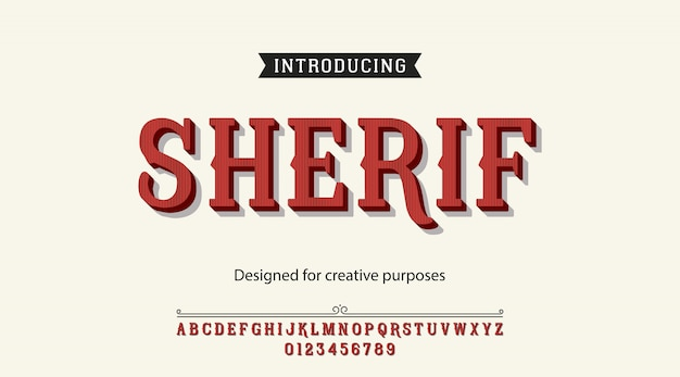 Alfabeto de fonte de tipo de letra de xerife