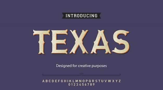 Alfabeto de fonte de tipo de letra do texas