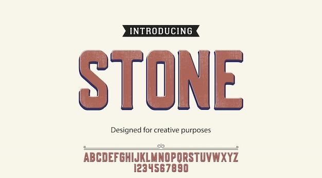 Alfabeto de fonte de tipo de pedra