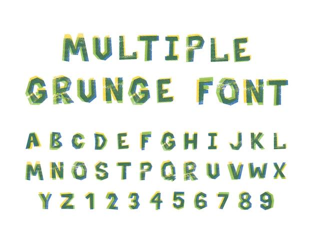 Alfabeto de fonte de várias cores brilhantes grunge isolado
