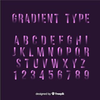 Alfabeto de fonte em estilo gradiente