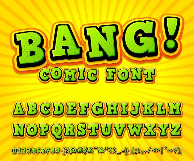Alfabeto de fonte em quadrinhos legal no estilo do livro de quadrinhos, pop art. letras e números verde-alaranjados engraçados multicamadas