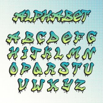 Alfabeto de fonte grunge graffity