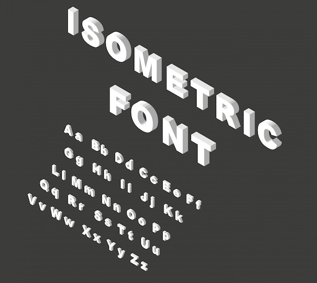 Alfabeto de fonte isométrica branco.