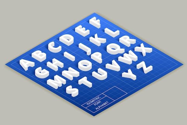 Alfabeto de fonte isométrica no plano superior. estilo abc moderno, tipografia latina