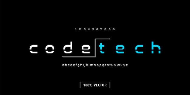 Alfabeto de fonte moderna tecnologia mínima