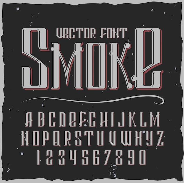Alfabeto de fumaça com estilo vintage