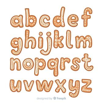 Alfabeto de gengibre desenhado de mão