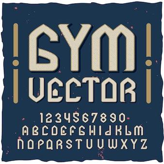 Alfabeto de ginástica com kit de fontes estilo vintage
