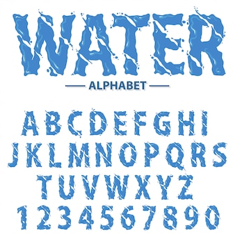 Alfabeto de gotas de água, letras e números de manchete de respingo futurista moderno, tipografia abstrata fonte líquida.