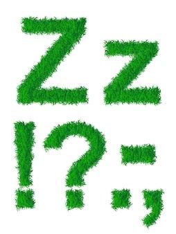 Alfabeto de grama verde, letra z grande e minúscula e pontuação