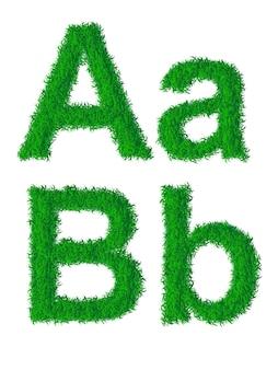 Alfabeto de grama verde, letras grandes e minúsculas a, b