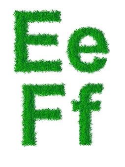 Alfabeto de grama verde, letras grandes e minúsculas e, f