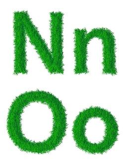 Alfabeto de grama verde, letras grandes e minúsculas n, o