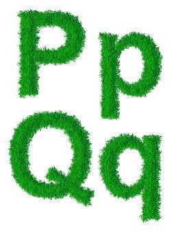 Alfabeto de grama verde, letras grandes e minúsculas p, q