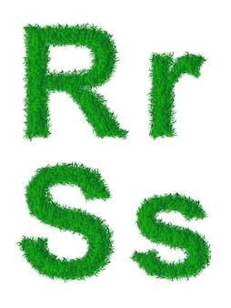 Alfabeto de grama verde, letras grandes e minúsculas r, s