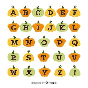 Alfabeto de halloween com letras de abóbora