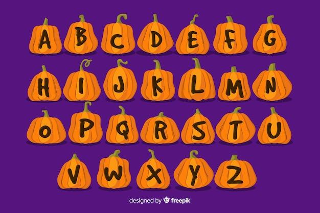 Alfabeto de halloween de letras de abóbora