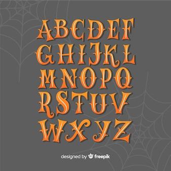 Alfabeto de halloween vintage com teia de aranha