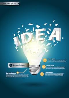 Alfabeto de idéia de lâmpada explodir conceito
