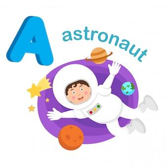 Alfabeto de ilustração isolado letra um astronauta