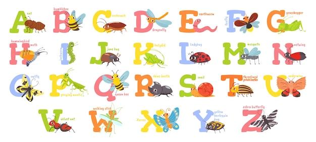 Alfabeto de insetos de desenho animado
