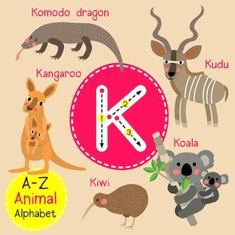 Alfabeto de jardim zoológico de letra k