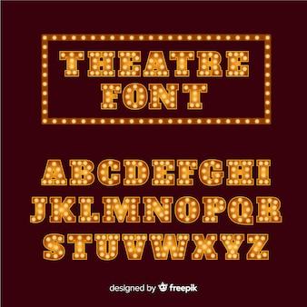 Alfabeto de lâmpada de teatro dourado