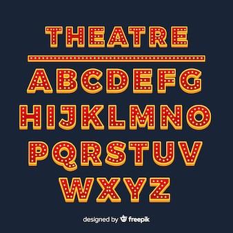 Alfabeto de lâmpada de teatro