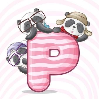 Alfabeto de letra animais panda bonito-vetor
